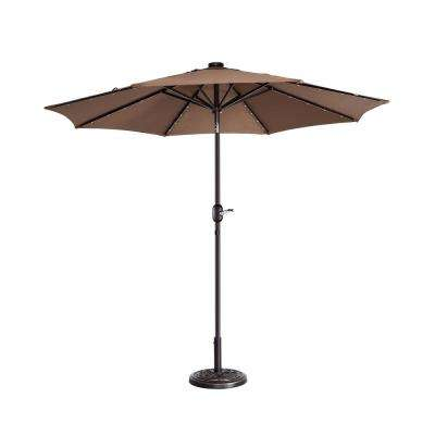 9 ft. Steel Market Solar Tilt LED Lighted Patio Umbrella in Brown