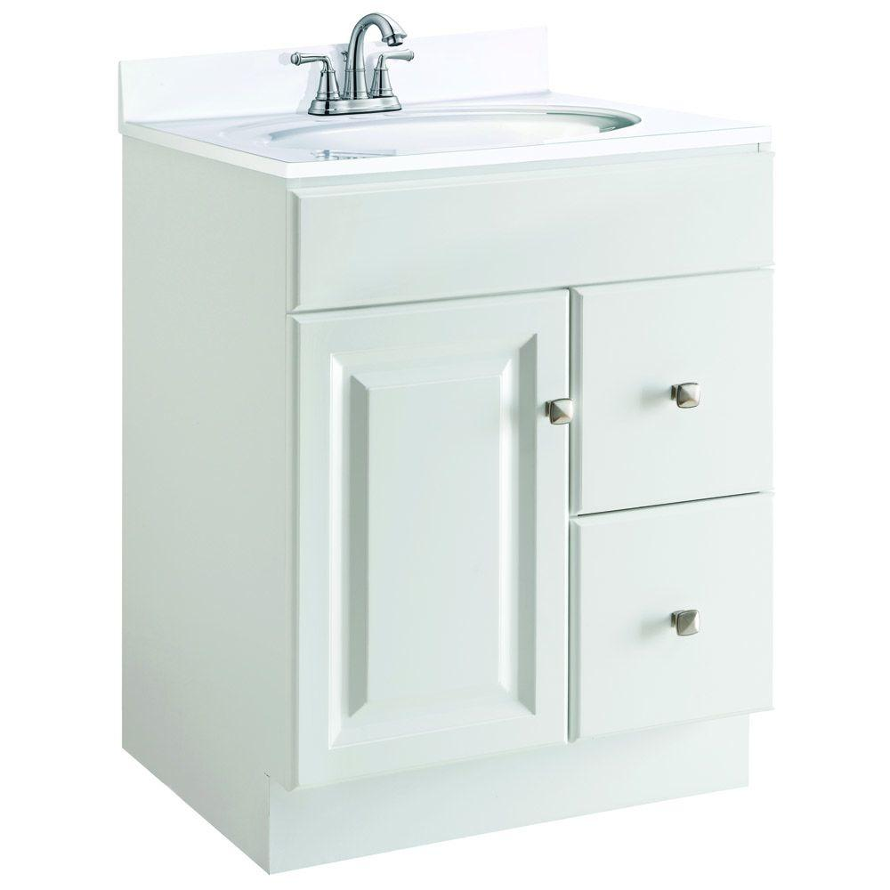 Design House Wyndham 24 In W X 21 In D Unassembled Vanity Cabinet Only In White Semi Gloss