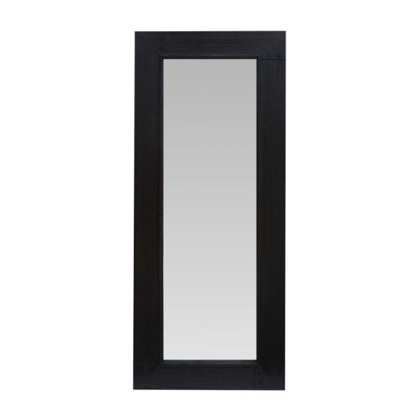 Oversized Brown Wood Modern Mirror (67 in. H X 27.5 in. W)