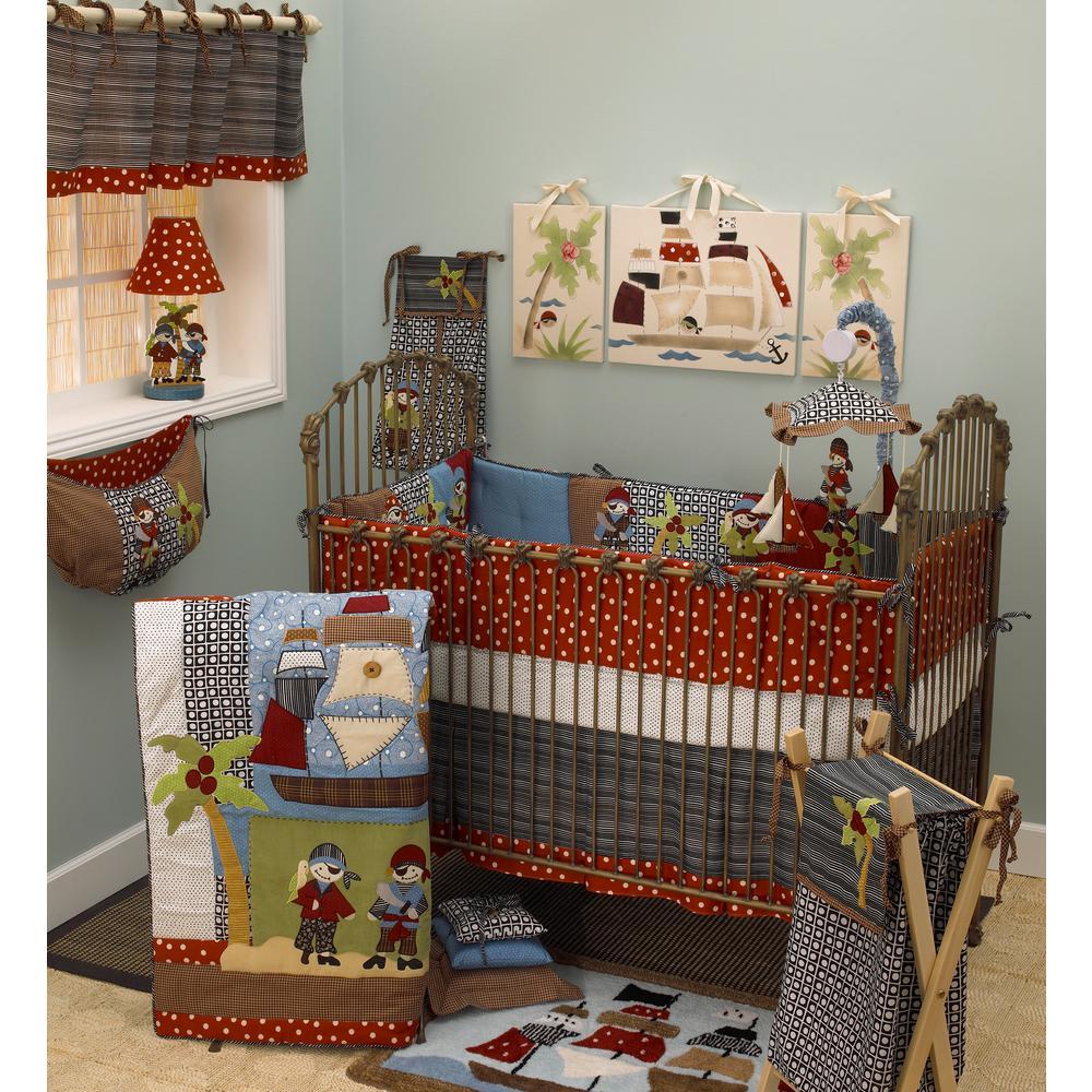 Pirates Cove Multicolor Pirates 4-Piece Crib Bedding Set