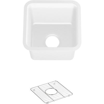Cairn Undermount Neoroc Composite 15.5 in. Single Bowl Kitchen Bar Sink in Matte White