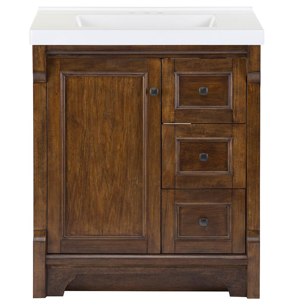 Home Decorators Collection Creedmoor 31 in. W x 22 in. D Bath Vanity in Walnut with Cultured Marble Vanity Top in White with White Sink was $999.0 now $599.4 (40.0% off)