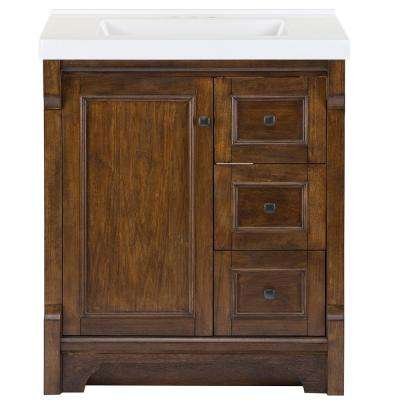 Creedmoor 31 in. W x 22 in. D Bath Vanity in Walnut with Cultured Marble Vanity Top in White with White Sink