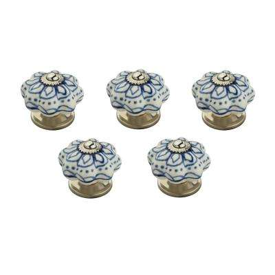 Blue Flowerd 1-7/10 in. (43 mm) White Cabinet Knob (Pack of 5)