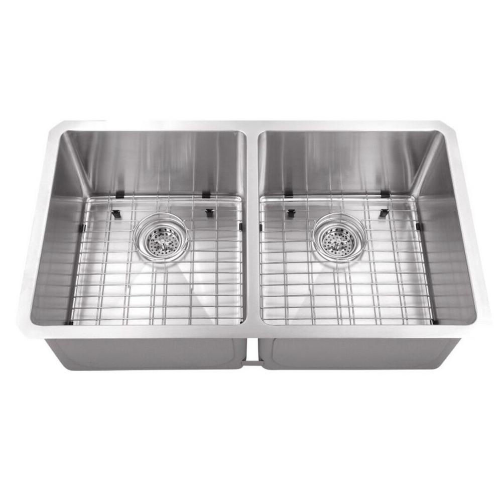 Cahaba Undermount Stainless Steel 32 in. 50/50 Zero Radius Corner Double Bowl Kitchen Sink