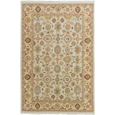 Lahor Finest Cream 5 ft. 6 in. x 8 ft. 5 in. Border Area Rug