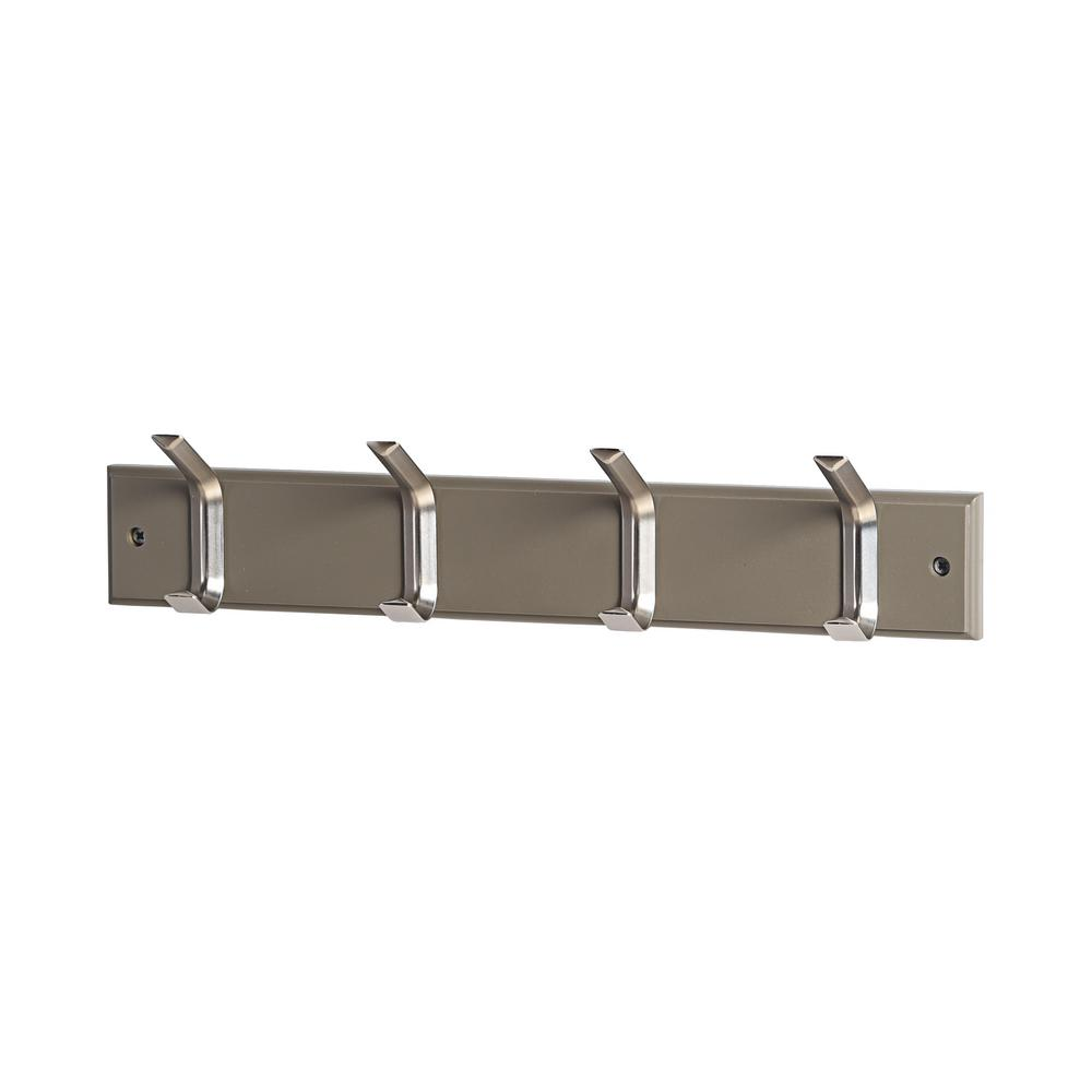 17-5/7 in. L Satin Nickel Mitred 4-Hooks on Grey Hook Rail