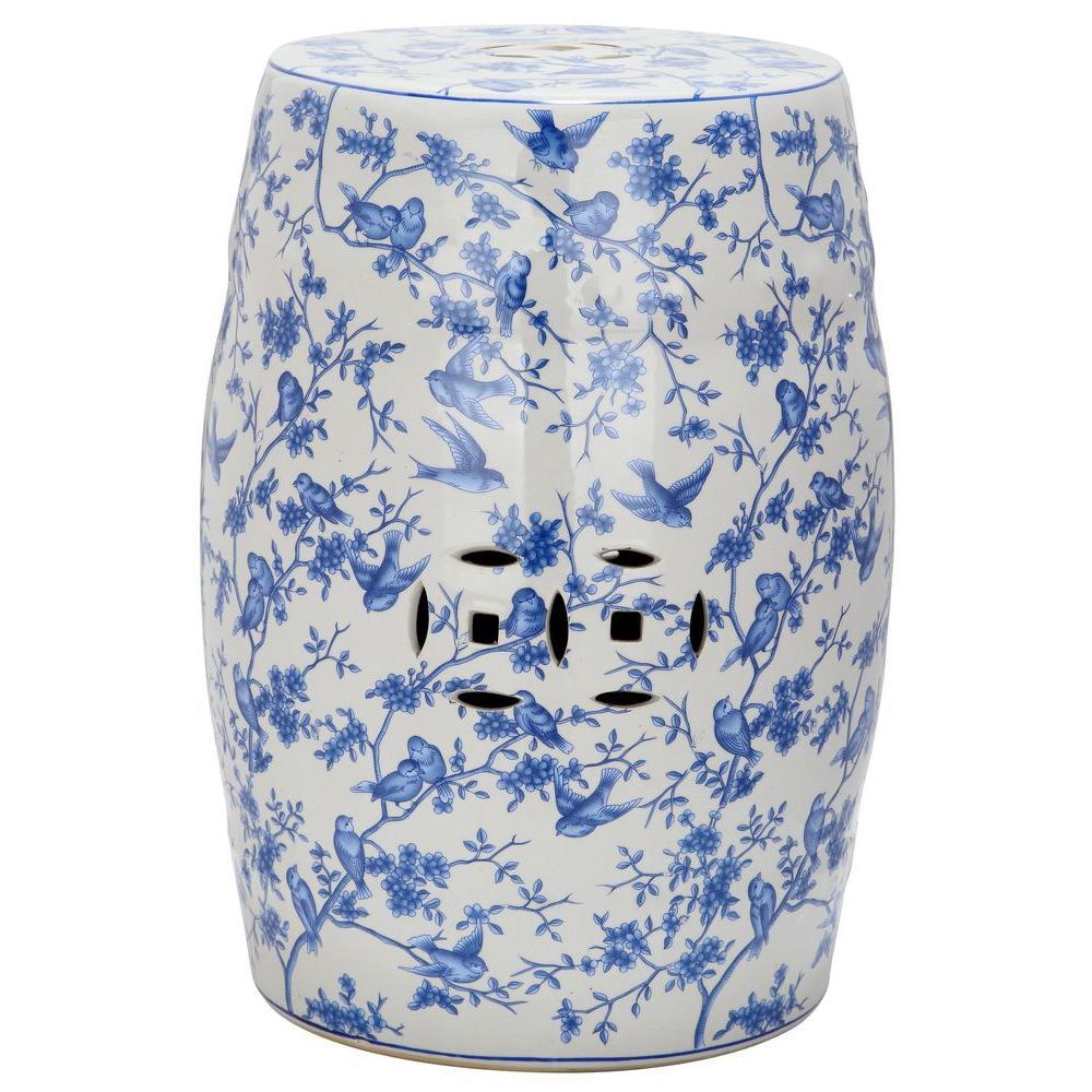 Blue Bird Pattern Ceramic Garden Stool