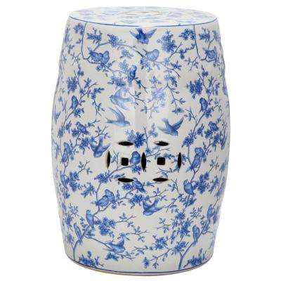 Blue Bird Pattern Ceramic Patio Stool