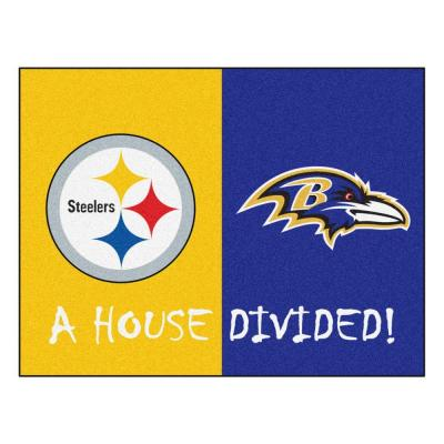 NFL Steelers / Ravens Yellow House Divided 3 ft. x 4 ft. Area Rug