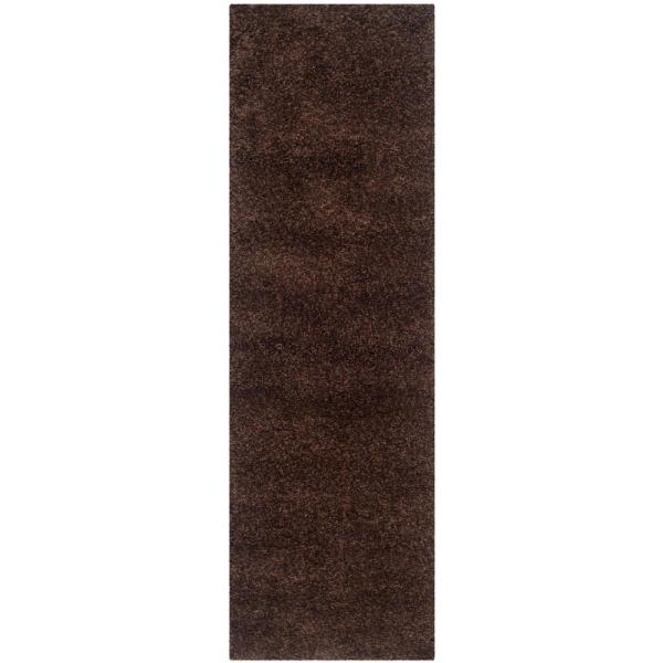 California Shag Brown 2 ft. x 9 ft. Runner Rug