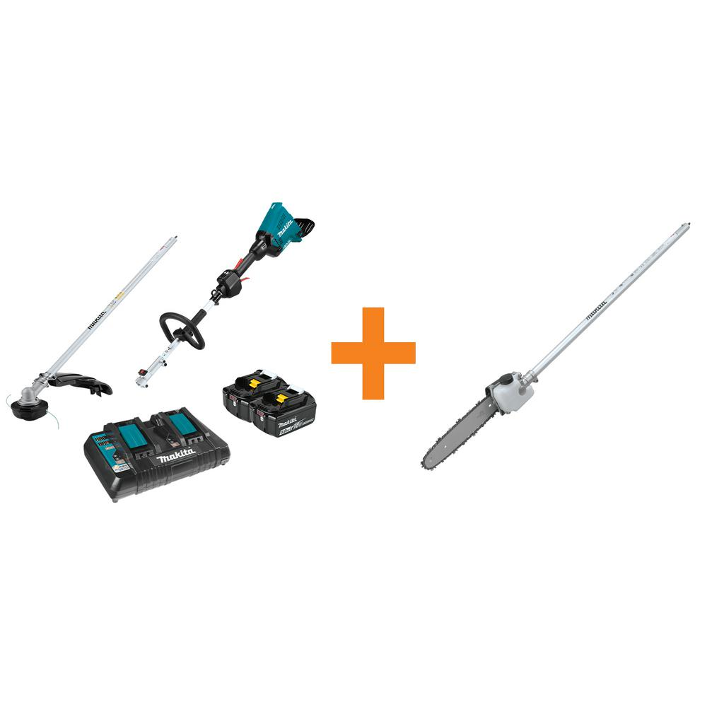 Makita 18-Volt X2 (36-Volt) LXT Brushless Couple Shaft Power Head Kit with Trimmer Attachment and 10 in. Pole Saw Attachment