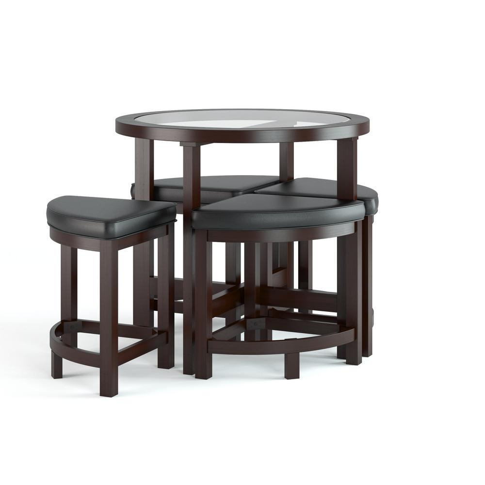 Pub and bar tables kitchen dining room furniture furniture belgrove 5 piece dark espresso stained counter height dining set geotapseo Gallery