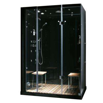 Orion 59 in. x 32 in. x 86 in. Steam Shower Enclosure in Black