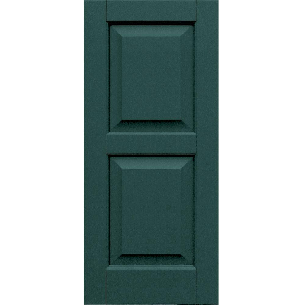 Winworks Wood Composite 15 in. x 34 in. Raised Panel Shutters Pair #633 Forest Green