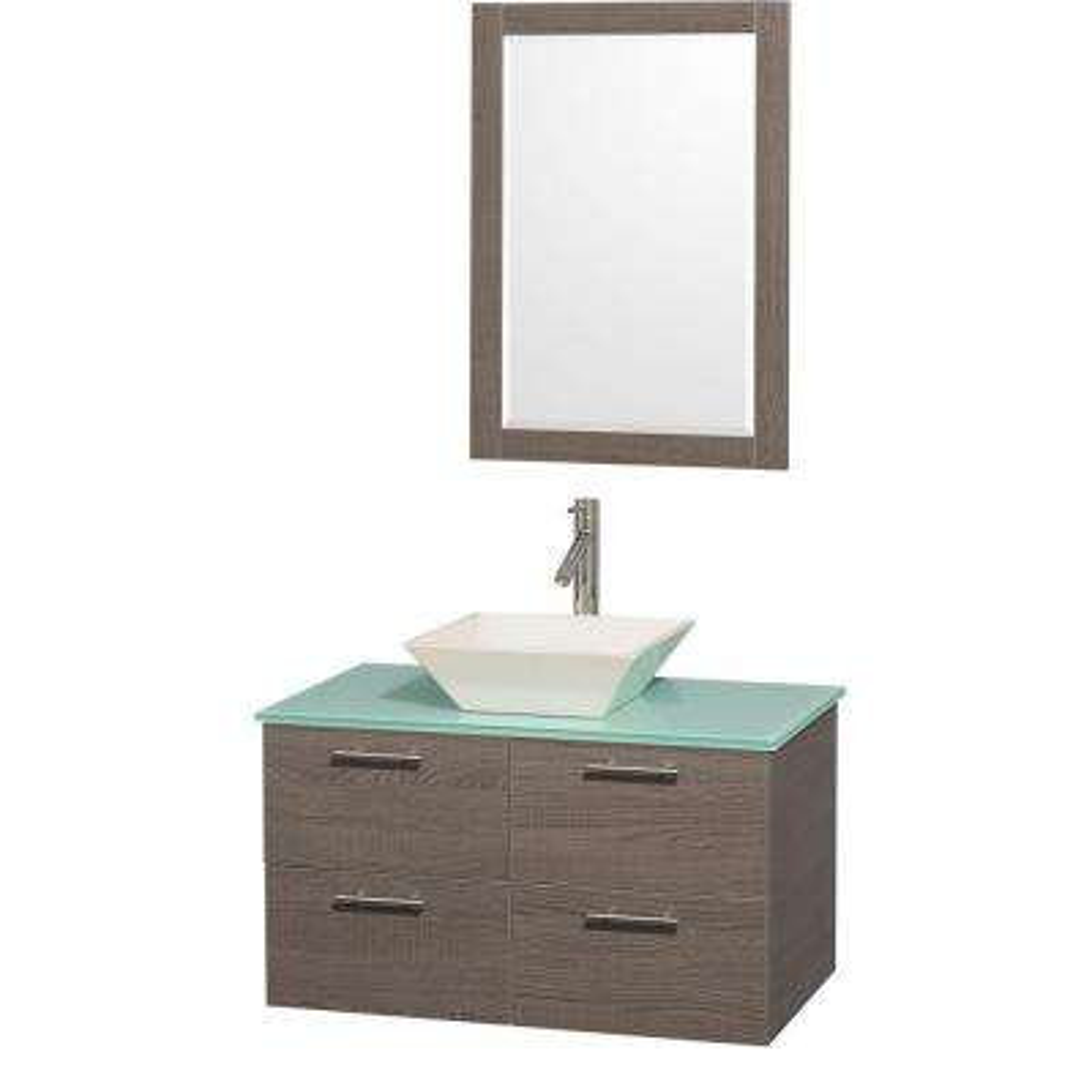 Amare 36 in. Vanity in Grey Oak with Glass Vanity Top in Aqua and Bone Porcelain Sink