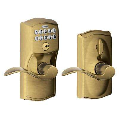 Accent Antique Brass Keypad Electronic Door Lever ... - Antique Brass - Door Levers - Door Knobs & Hardware - The Home Depot