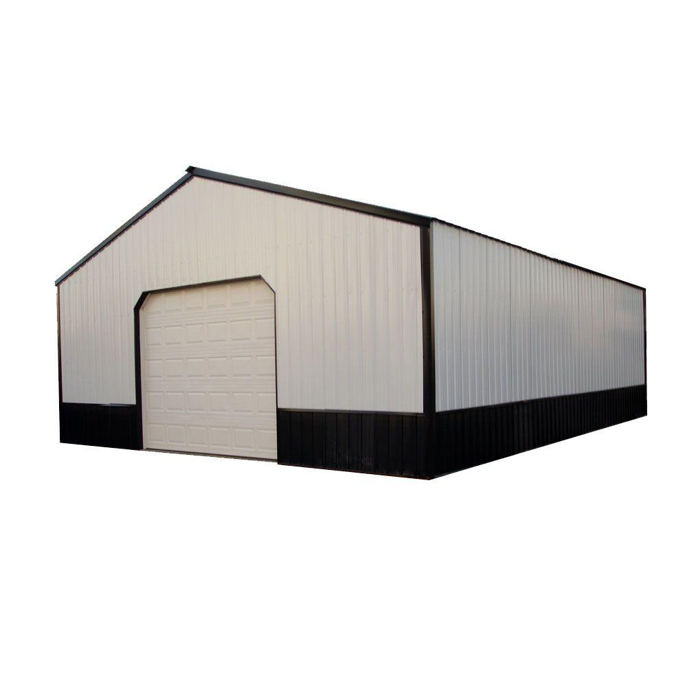 Anniston 24 ft  x 30 ft  x 9 ft  Wood Pole Barn Garage Kit without Floor