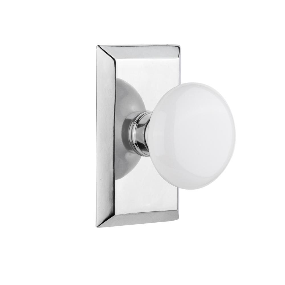 Nostalgic Warehouse Studio Plate Double Dummy White Porcelain Door Knob In  Bright Chrome