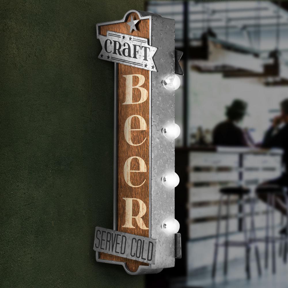 Craft Beer Metal Bar Light Vintage Marquee LED Sign