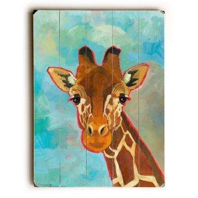 """12 in. x 16 in. """"Giraffe"""" by Ursula Dodge """"Planked Wood"""" Wall Art"""