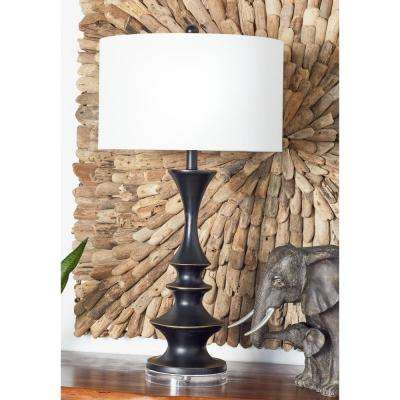 31 in. Dark Brown Turned Wood Design Polystone Table Lamp with Linen Shade