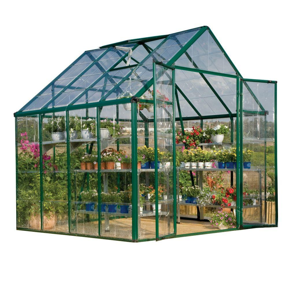Palram Snap and Grow 8 ft. x 8 ft. Green Polycarbonate Greenhouse