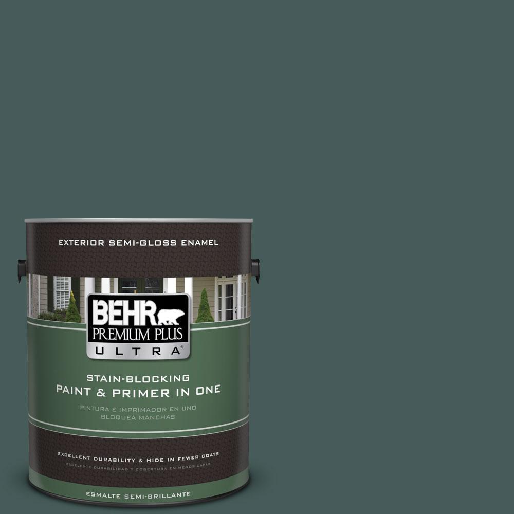 BEHR Premium Plus Ultra 1-gal. #490F-7 Jungle Green Semi-Gloss Enamel Exterior Paint