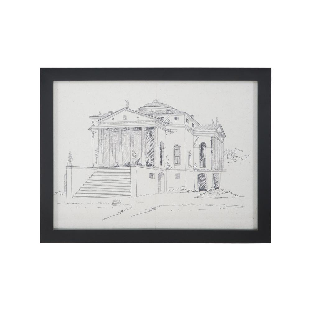 """20 in. x 26 in. """"Villa Rotunda"""" Hand Painted Framed Wall Art"""