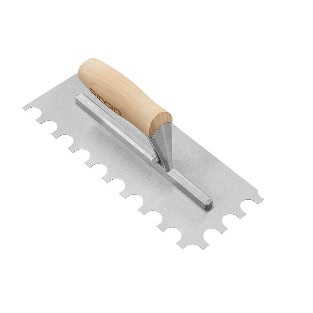 3/4 in. x 9/16 in. x 3/8 in. U-Notch Trowel with Wood Handle