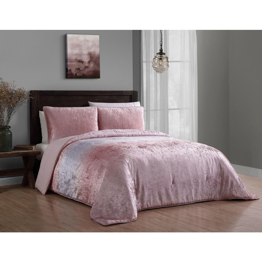 Bradshaw 3-Piece Blush Queen Velvet Ombre Comforter Set