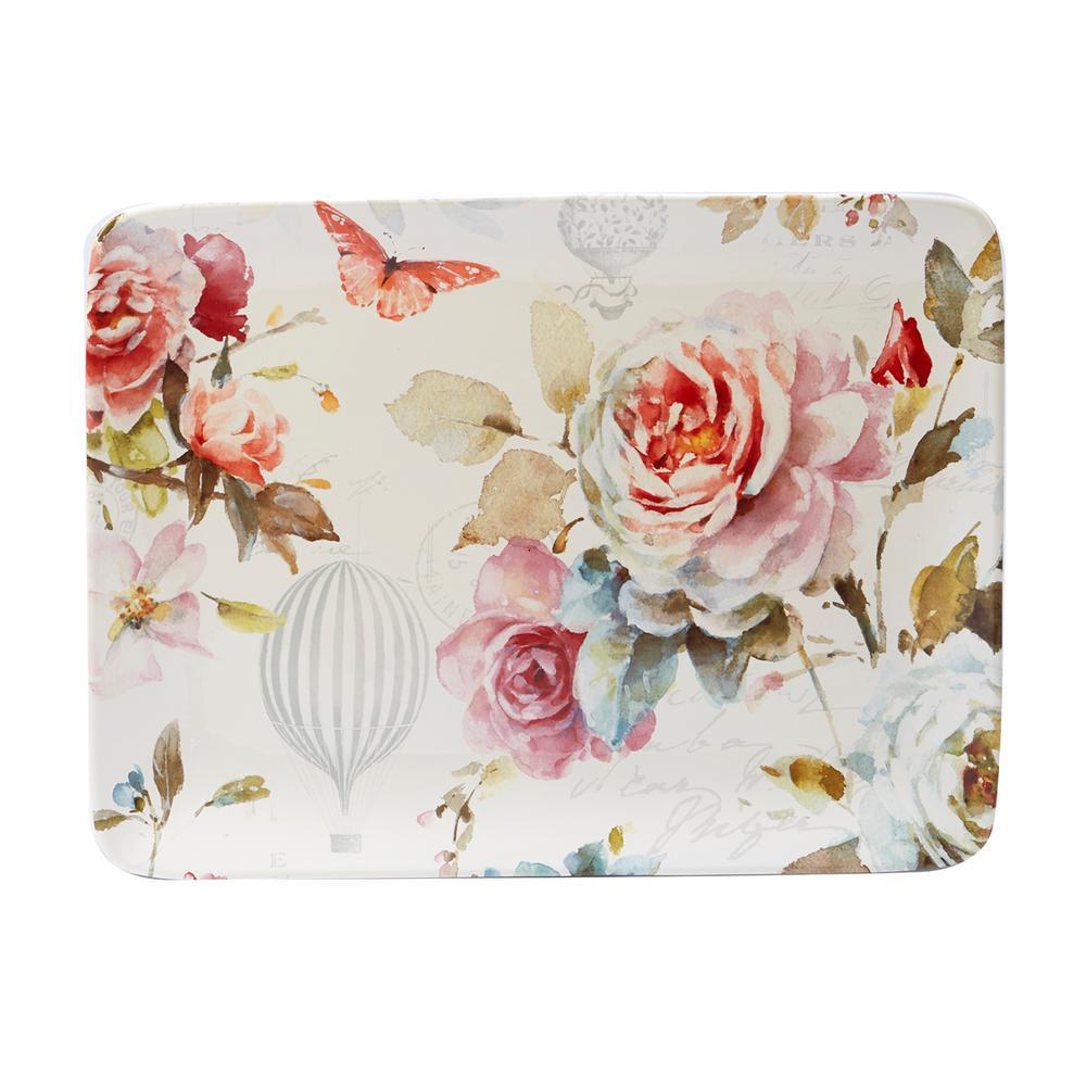 Beautiful Romance Multi-Colored 16 in. x 12 in. Ceramic Rectangular Platter