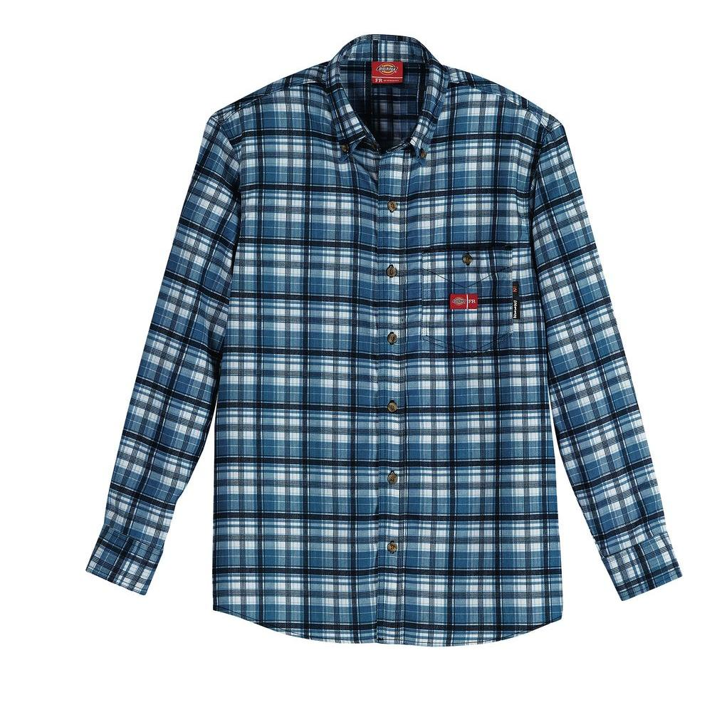 Dickies Men's Large Ash Blue/White Flame Resistant Long Sleeve Plaid Shirt