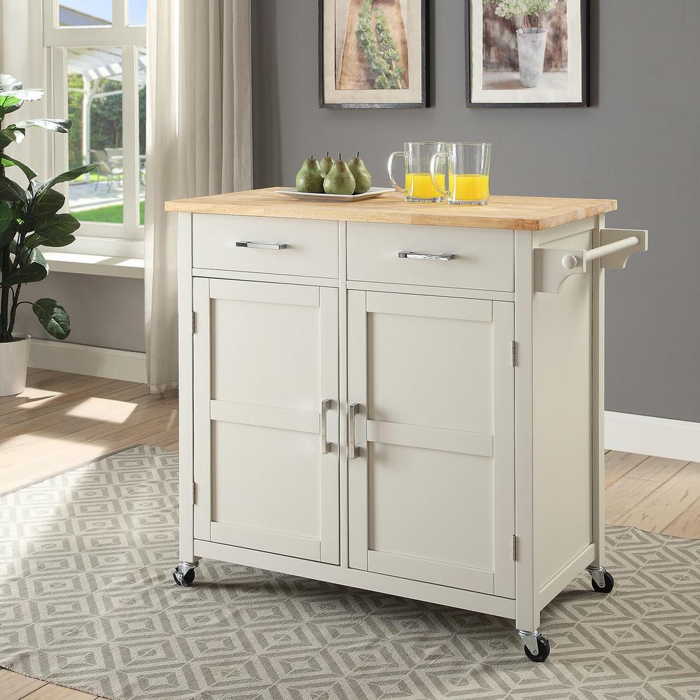 Macie Polar White Small Kitchen Cart