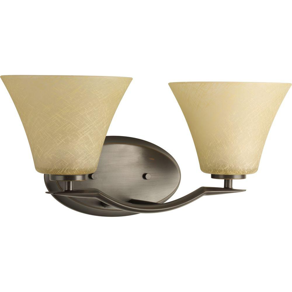 Progress Lighting Bravo Collection 2-Light Antique Bronze Bathroom Vanity Light with Glass Shades was $45.94 now $22.97 (50.0% off)