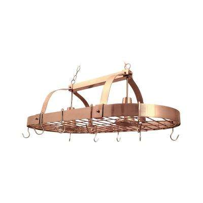 2-Light Copper Kitchen Pot Rack Light with Hooks