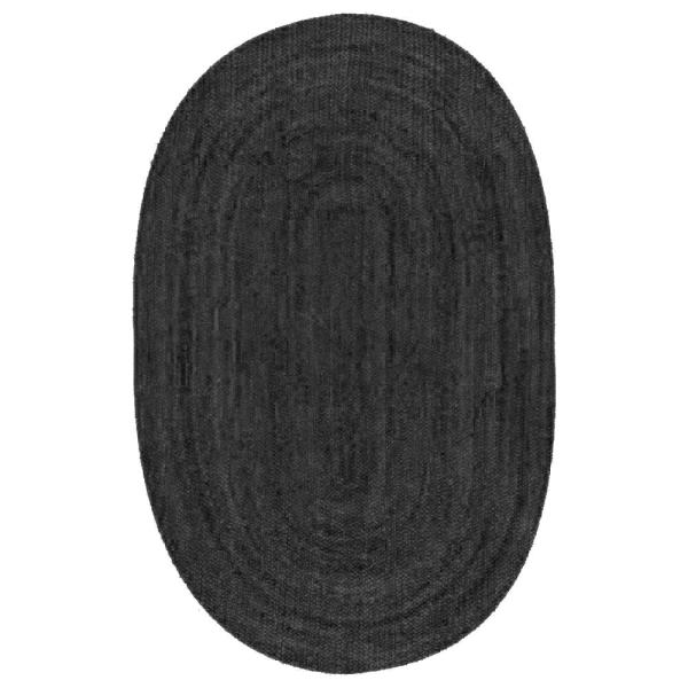 Rigo Chunky Loop Jute Black 3 ft. x 5 ft. Oval Rug