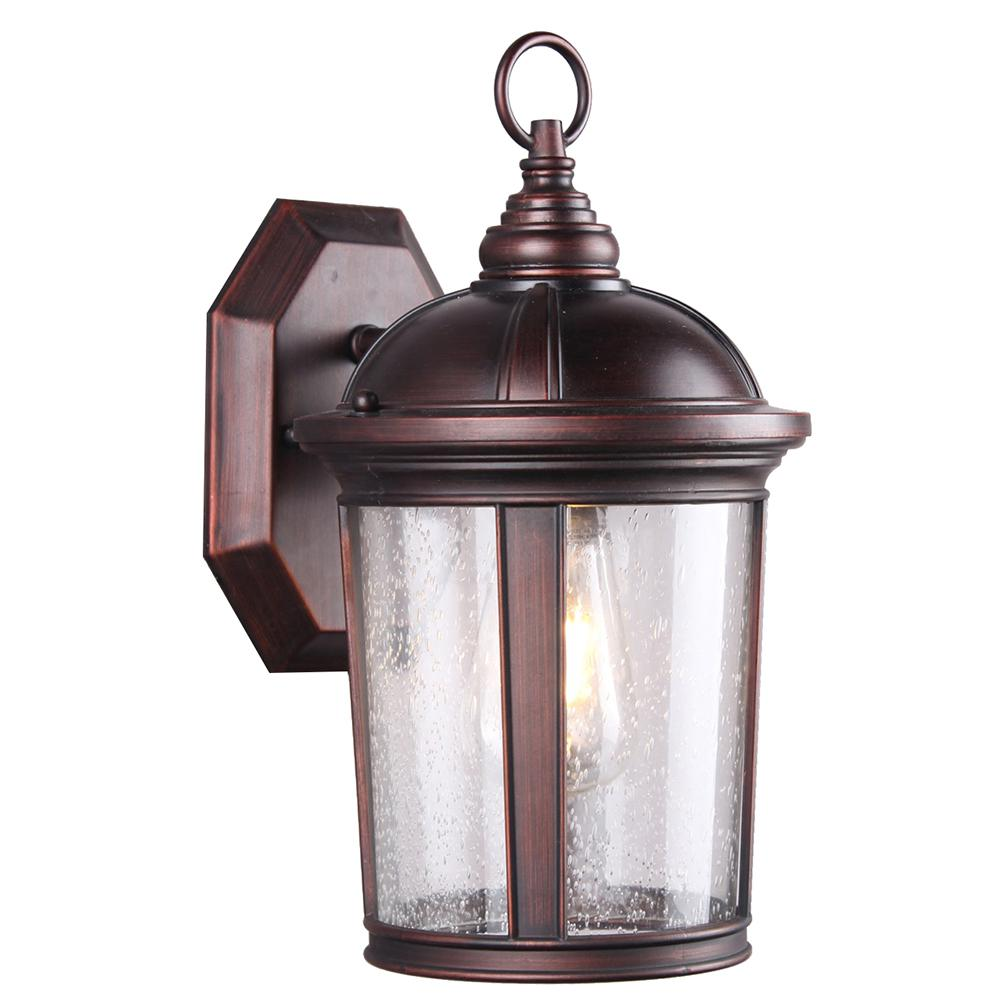 Dsi 1 Light Bronze Seeded Glass Outdoor Wall Mount Sconce