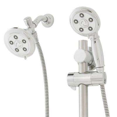 3-spray 4 in. High PressureDual Shower Head and Handheld Shower Head in Polished Chrome