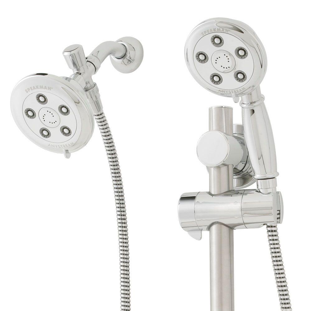 Anystream Alexandria Slide Bar Mounted Combination Shower in Polished Chrome