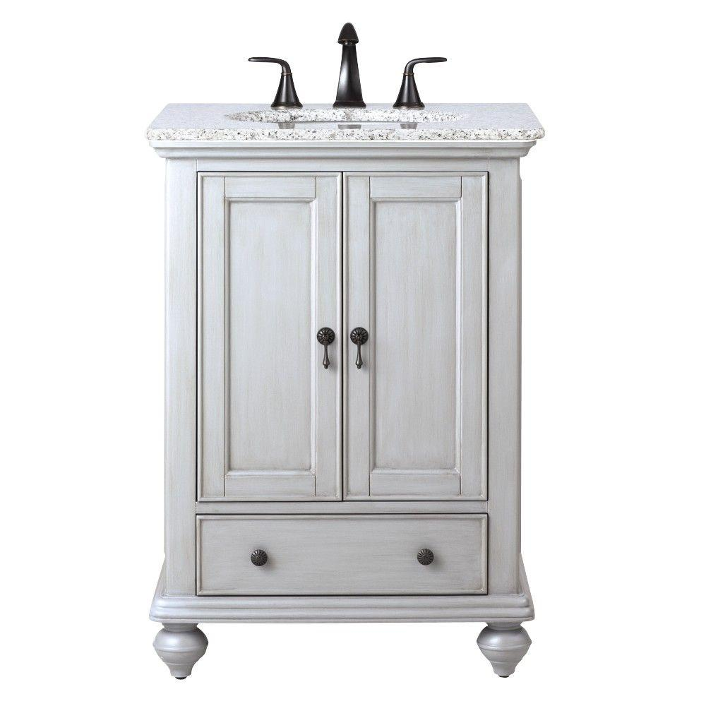 Home Decorators Collection Newport 25 in. W x 21-1/2 in. D Bath Vanity in Pewter with Granite ...