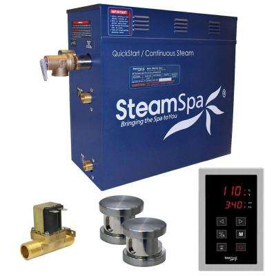 Oasis 12kW QuickStart Steam Bath Generator Package with Built-In Auto Drain in Polished Brushed Nickel