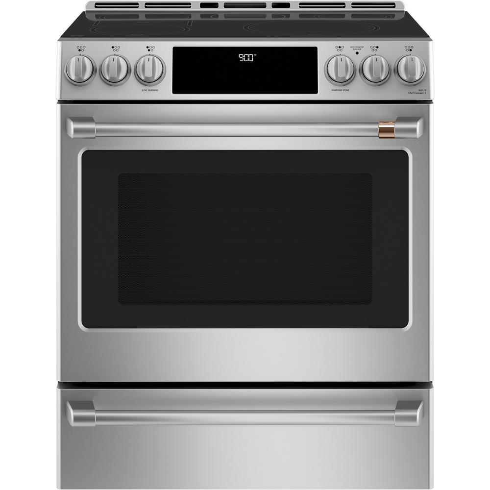 Cafe 30 in. 5.7 cu. ft. Slide-In Electric Range with Self Cleaning Convection Oven in Stainless Steel
