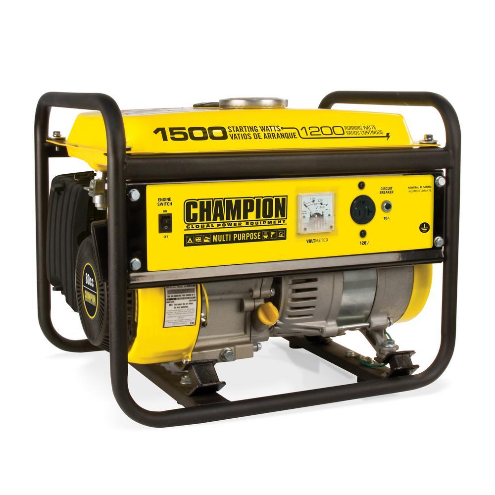 Champion Power Equipment 1,200-Watt Recoil Start Gasoline Powered Portable Generator