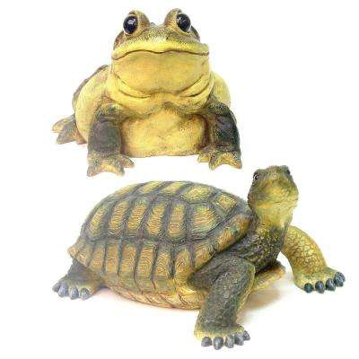 5 in. Turtle and Bullfrog Combo Pack Home and Garden Statues