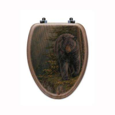 Rocky Outcropping Elongated Closed Front Wood Toilet Seat in Oak Brown