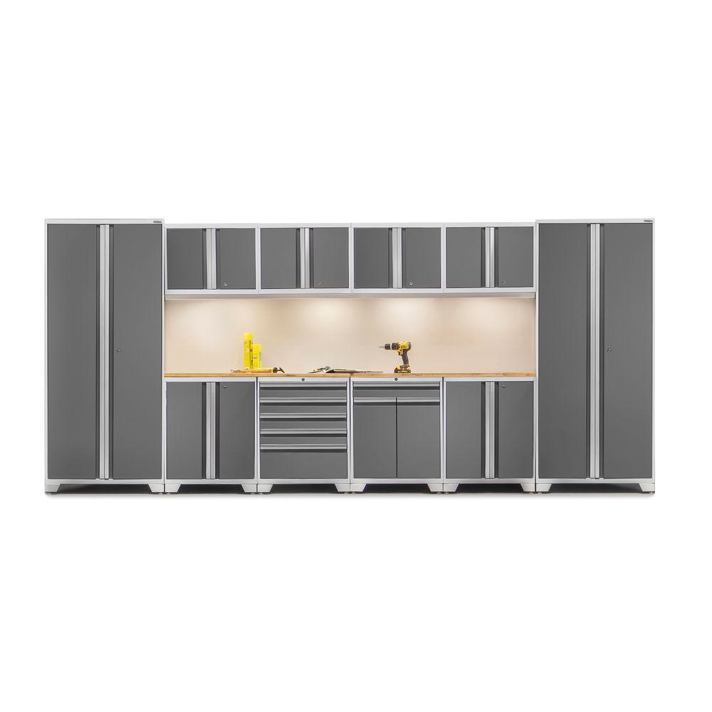 Pro 3 Series 85 in. H x 184 in. W x 24 in. D 18-Gauge Welded Steel Bamboo Worktop Cabinet Set in Platinum (12-Piece)