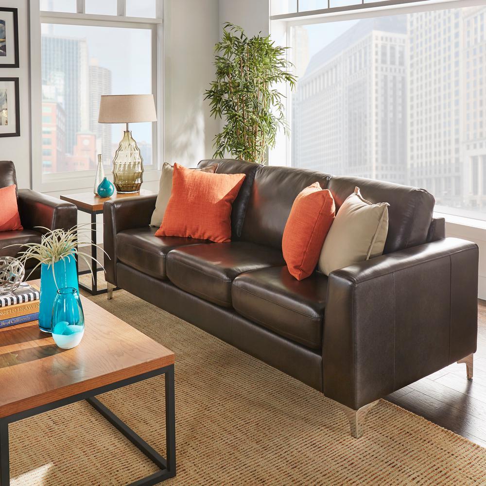Homesullivan Chocolate Brown Leather Sofa