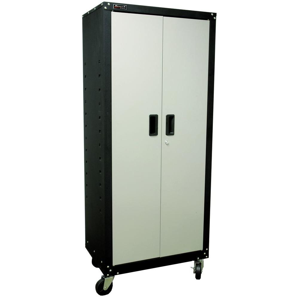 2 Door Tall Mobile Cabinet With 4 Shelves In Black And Gray
