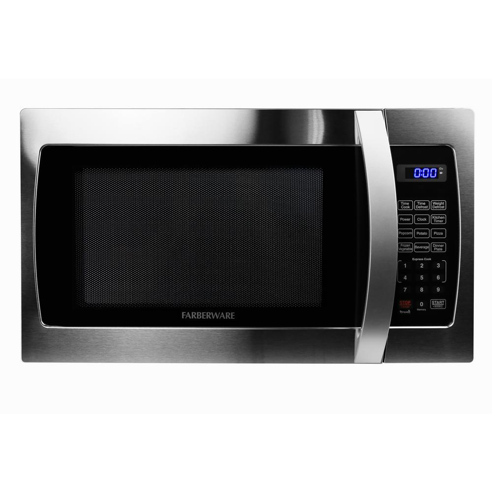 Pro 1.3 cu. ft. 1000-Watt Countertop Microwave Oven in Stainless Steel/Black
